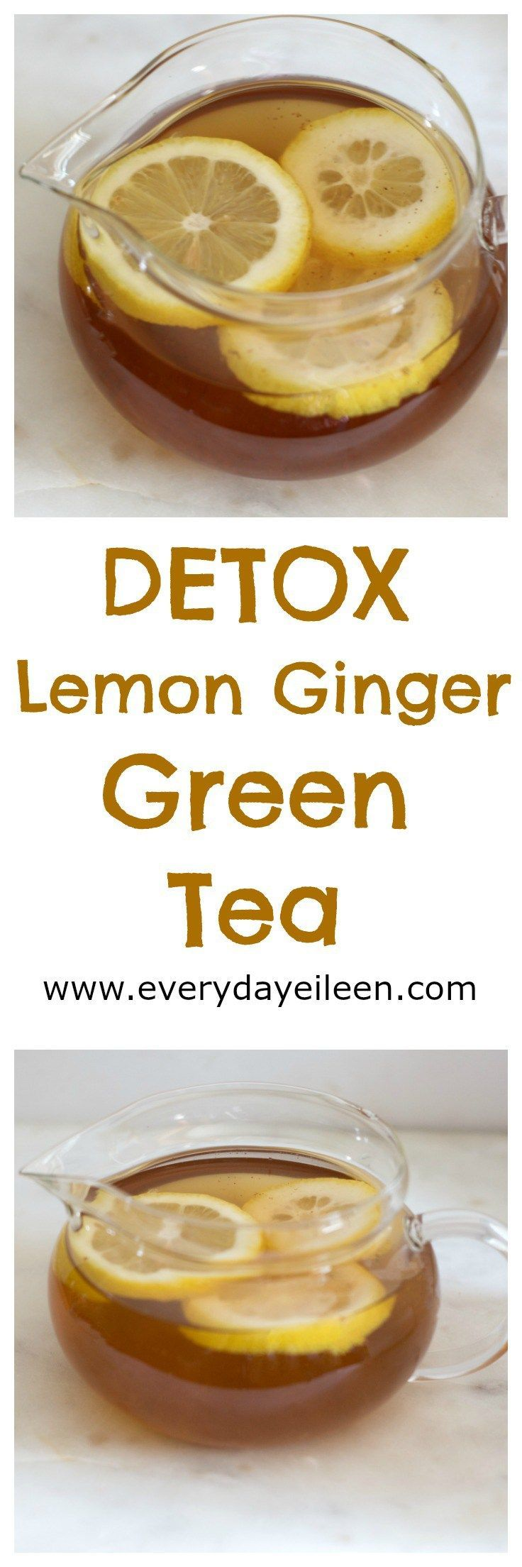 detox lemon ginger green tea is a healthy blend of green tea, lemon, ginger and cayenne. Filled with antioxidants and health benefits.  A great way to start the day!