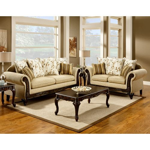 Hokku Designs Aveline Polyester Cotton And Leatherette Sofa Set