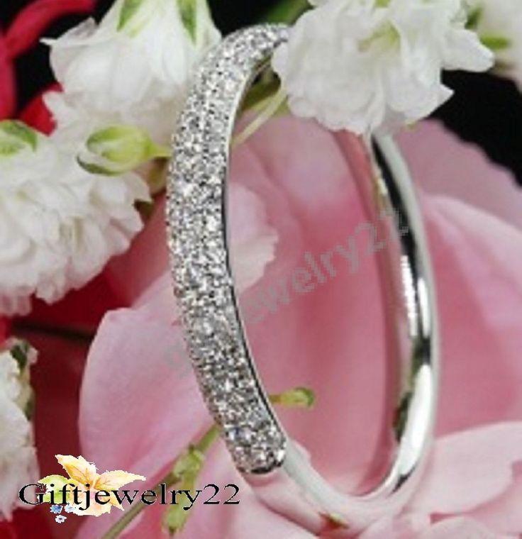 Half Eternity Band Round Cut Diamond 14K White Gold Wedding Engagement Ring #giftjewelry22 #HalfEternityBand