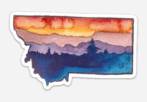 Vinyl Montana Watercolor Decal Tough All Weather Sticker Etsy Pacific Northwest Art Watercolor Montana Tattoo