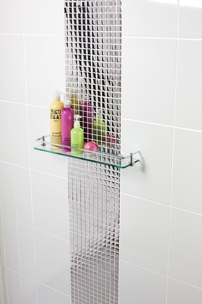 A Silver Glass tile sized 30cm x 30cm, the Silver Glass Mosaic tile is ideal for Bathroom and Kitchen use. Sold individually with a Glass finish, only £12.99.