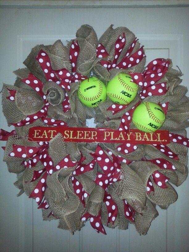 Softball... Eat sleep play ball softball and burlap wreath with polka dots