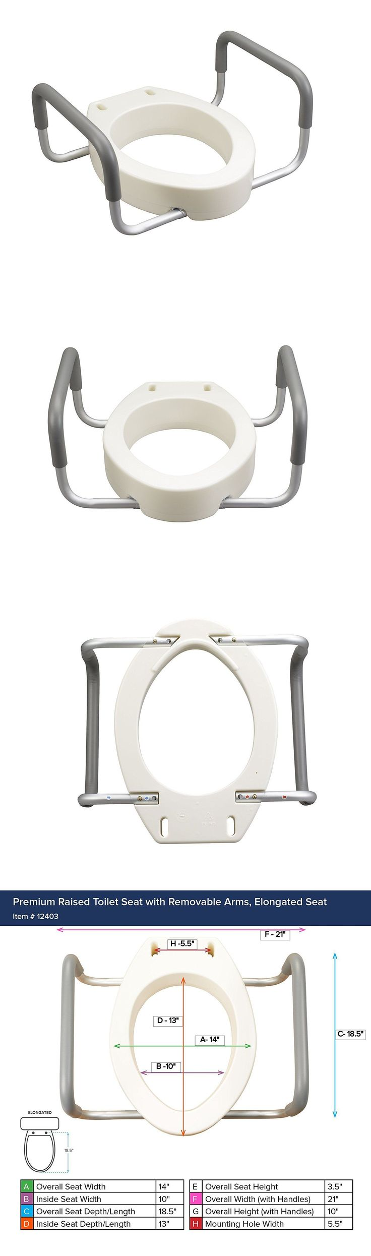 Other Accessibility Fixtures: Toilet Seat Riser Portable Removable Padded Arms Medical Help Bathroom Safety BUY IT NOW ONLY: $44.99