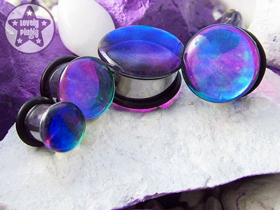 """Photon Blue Green Purple ONE Plug Only Colour Flash Prom 2g, 0g, 00g, 7/16"""" / 6mm, 8mm, 10mm, 11mm on Etsy, $14.59"""