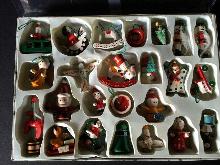 Christmas Ornament Handmade Wood Box Of 24 Nut Cracker Santa Sleigh Snowman