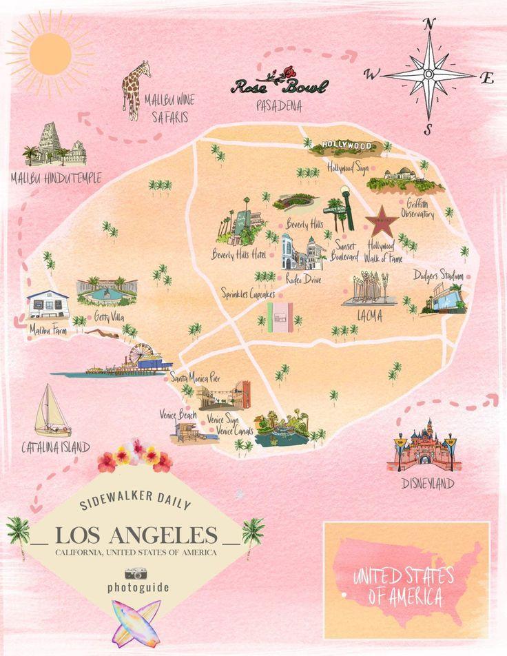 Photoguide Los Angeles California Sidewalker Daily California Travel Road Trips California Travel Los Angeles Map