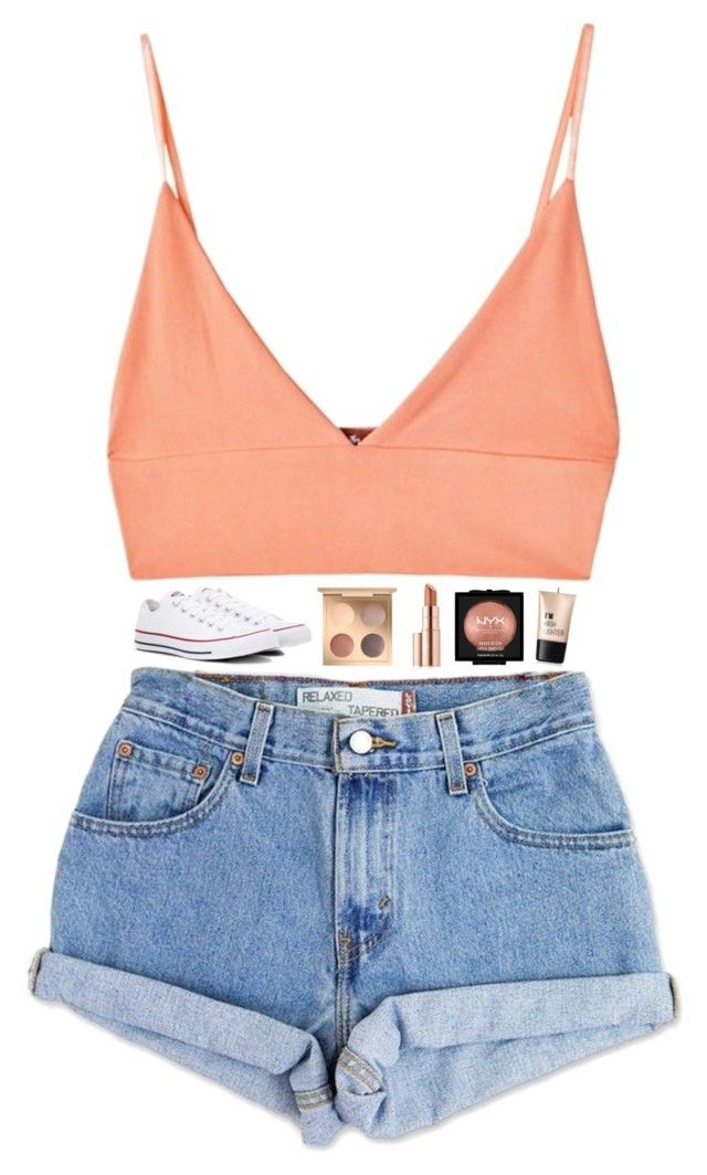 """""""u look greatest when u feel like a damn queen✨"""" by beingrach ❤ liked on Polyvore featuring For Love & Lemons, Levi's, Converse, Estée Lauder, NYX, Charlotte Russe, converse, highwaistedshorts, queen and haileesteinfeld"""