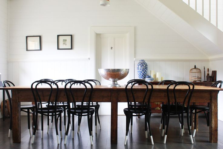 The large farmhouse dining table and Bentwood Thonet chairs will comfortably fit 12 guests for dinner. #luxury #luxuryaccommodation #accommodation #weekendaway #wanderlust #farmhouse #countrystyle #rustic #bentwood