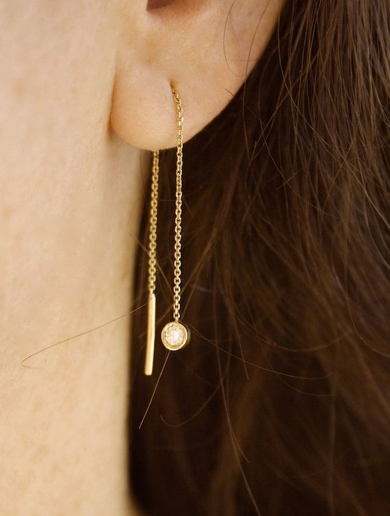 Threader diamond earrings from www.bellallure.fr
