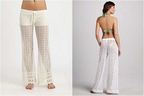 Белые пляжные брюки