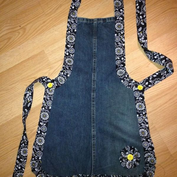 Recycled denim apron. I don't ever wear an apron but I probably should as I always get something on my clothes I can't get out. This is cute. by Carol Dudley