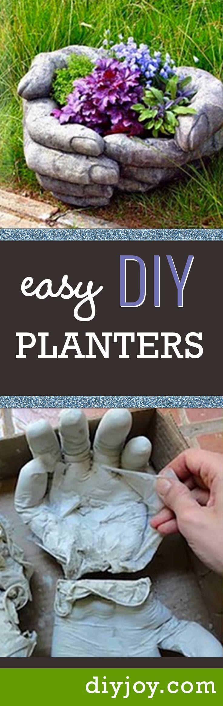 Homemade garden art ideas - Easy Diy Planters For Cool Do It Yourself Gardening Idea Concrete Pots In Hand Shade