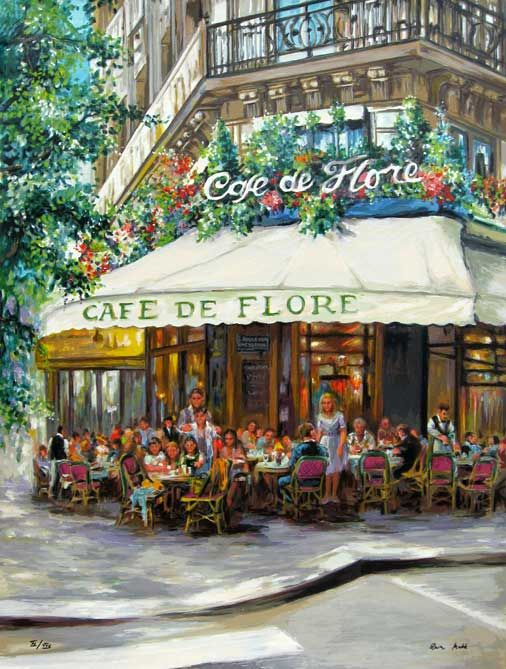 Cafe de Flore: just like Monsieur Hemingway. My English professor told me that he would push a bunch of pigeons in a little pram in the Luxembourg Gardens. And eat them when he couldn`t afford a mean. Now what part of that story isn`'t nasty?