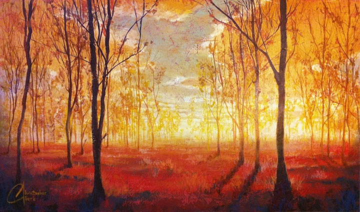 Forest-of-Hope-II---web-christopher clark, chris clark, christopher, chris, clark, art, artist, artwork, fine art, original, paint, painting, painter, oil, acrylic, draw, drawing, landscape, tree, hill, grass, green, autumn, fall, seasons, season, nature, sunset, afternoon, texture, modern, abstract, impressionist, impressionism,