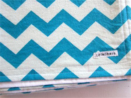 Aqua and White Zig Zag/Chevron Flannel Baby Blanket | by LittleStarrs on Madeit.com.au |