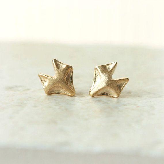 Fox earrings in gold by laonato on Etsy, $15.00