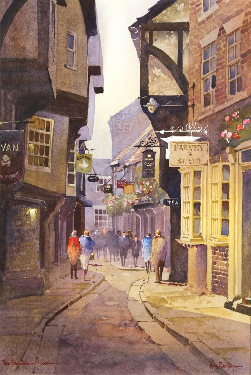 Ken Burton, Watercolour, The Shambles, York