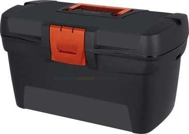 A practical toolbox that boasts a spacious depth to stores hammers, screw drivers, tape measures, allen keyes and more.