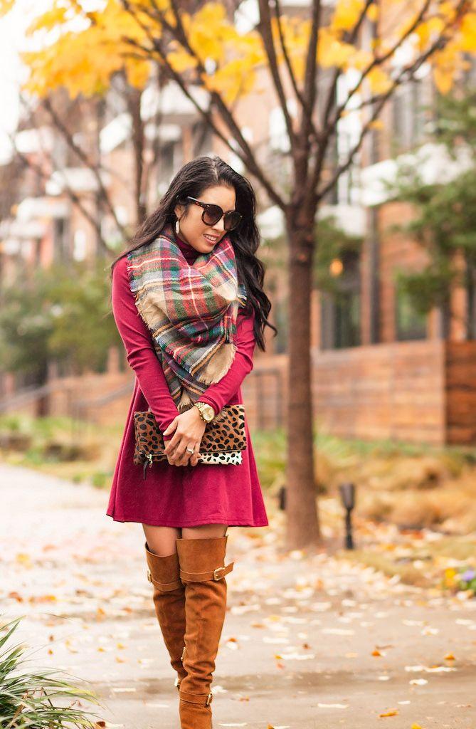 cute & little blog | petite fashion | burgundy sweater dress, tartan plaid blanket scarf, tan over the knee otk boots, leopard clutch | fall outfit