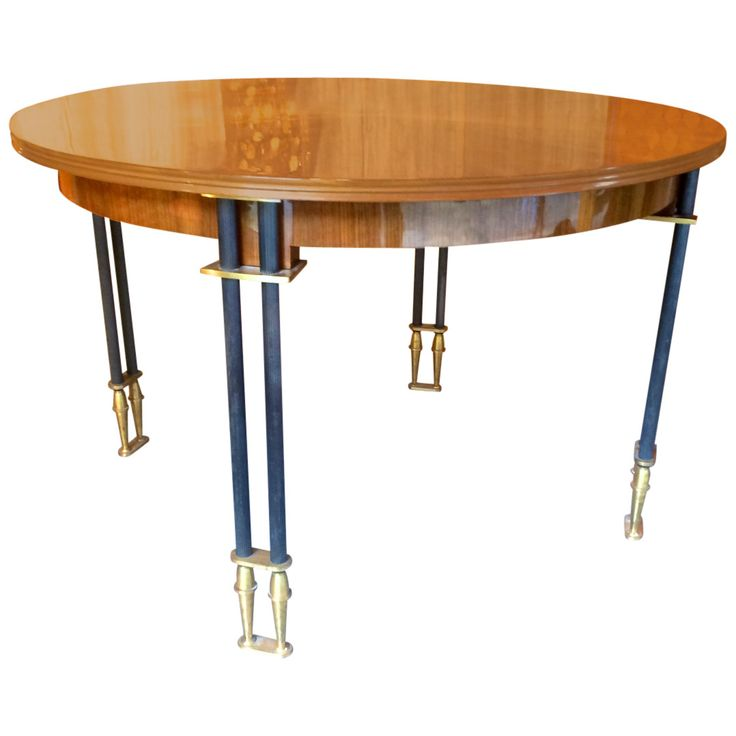 Jules Leleu Documented 1950s Superb Design Round Extendable Dining Table