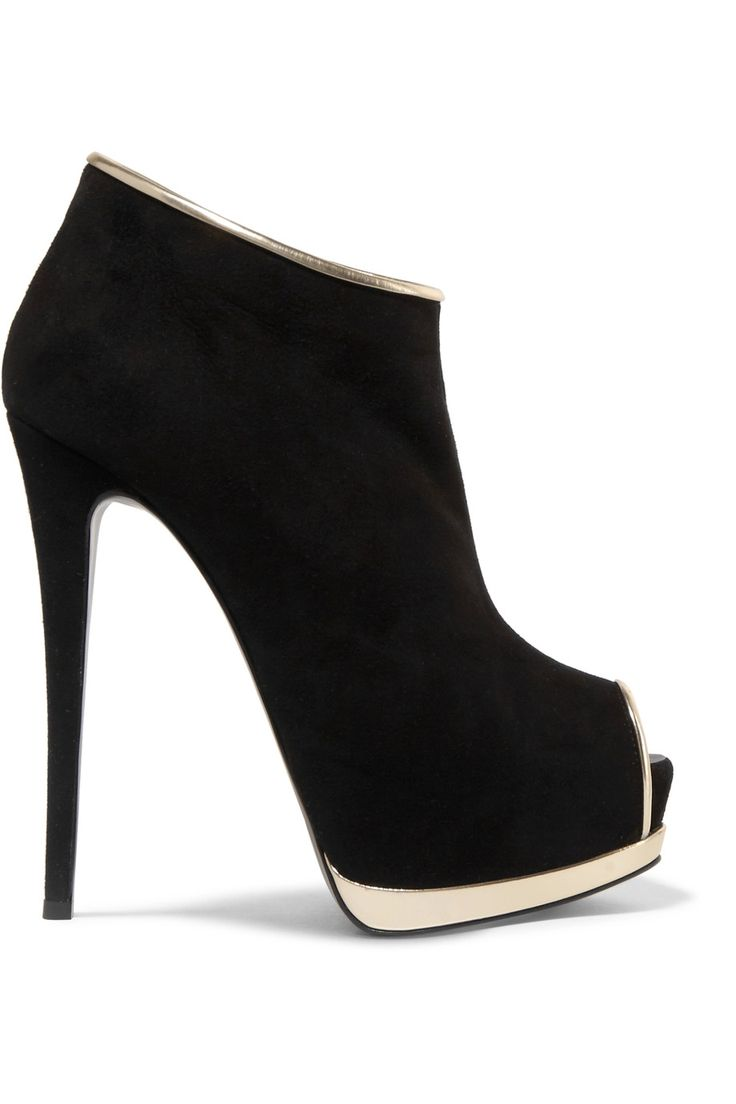 Shop on-sale Giuseppe Zanotti Metallic leather-trimmed suede ankle boots . Browse other discount designer Boots & more on The Most Fashionable Fashion Outlet, THE OUTNET.COM