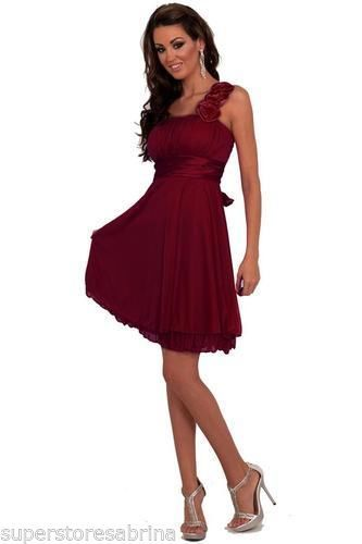 New-Evening-Cocktail-Party-Bridesmaid-Strap-Floral-Empire-Dress-H1196-Burgundy-L