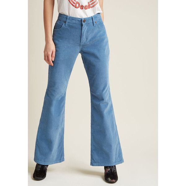 """Wrangler Flawlessly Flared Corduroy Pants - 30"""" ($90) ❤ liked on Polyvore featuring pants, blue trousers, flare trousers, cordoroy pants, pastel pants and blue corduroy pants"""