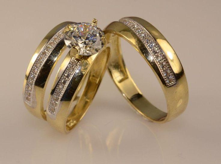 Men/Ladies 14K Yellow Gold Finish Trio Set Engagement Ring Wedding Bridal Set #aonebianco