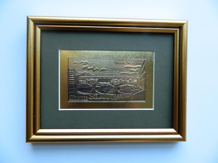 Ponte Vecchio - Florence  Picture souvenir -gold emboss- Italia