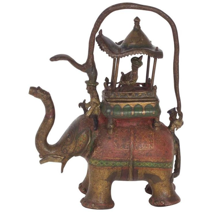 Folky Antique Anglo Indian Style Bronze Water Pitcher | From a unique collection of antique and modern pitchers at https://www.1stdibs.com/furniture/dining-entertaining/pitchers/