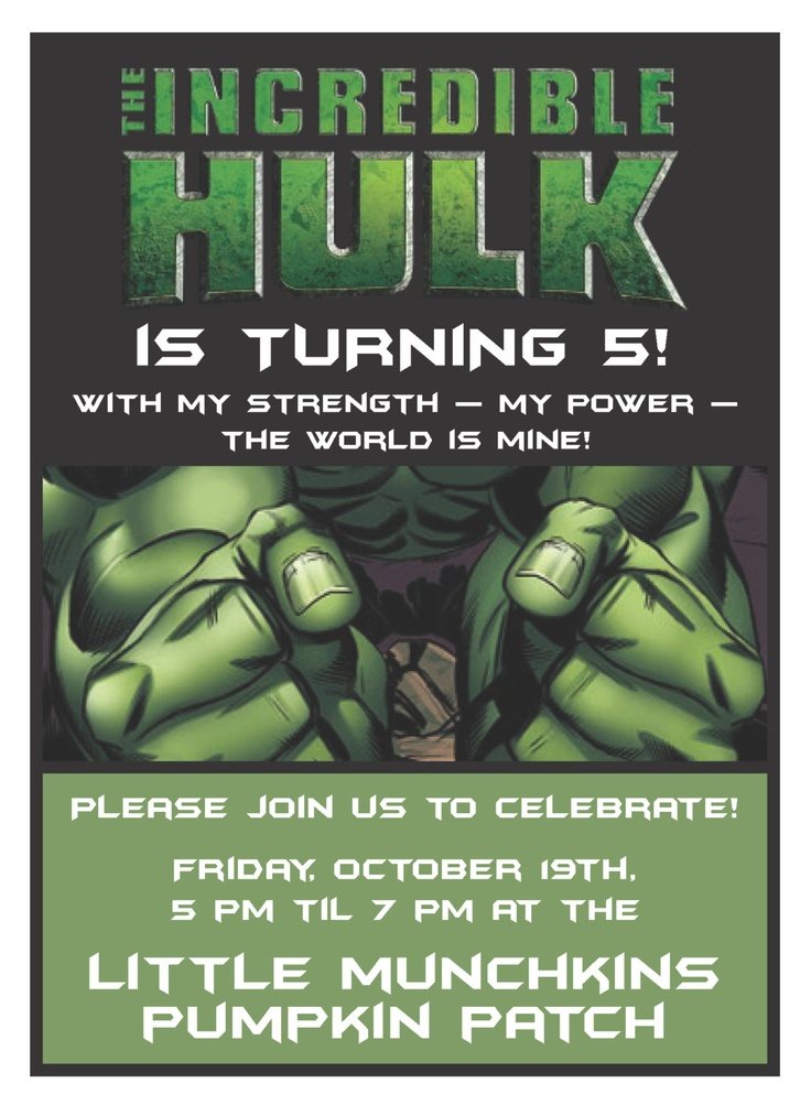 17 Best images about Hulk Party – Hulk Party Invitations
