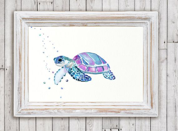 Watercolor Sea Turtle Sea Animals Sea by WildflowerstudioArt