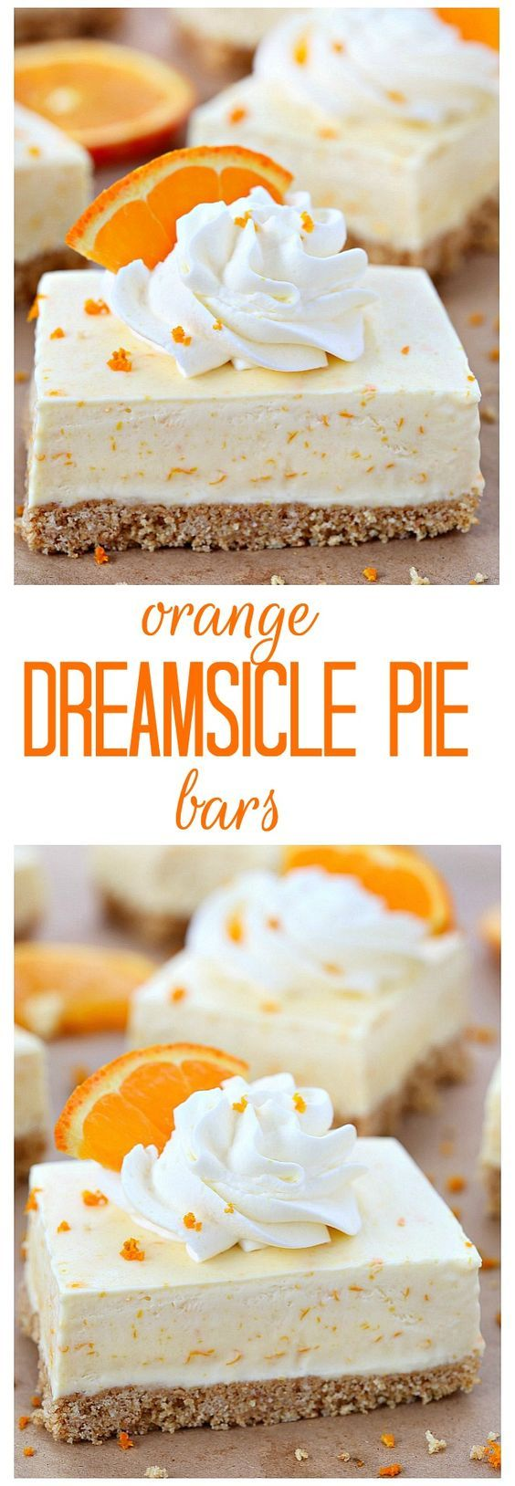 Summer in a bite, these orange dreamsicle pie bars are packed with orange flavor from freshly squeezed orange juice and grated orange rind! Forget the orange flavored jello, these orange dreamsicle pie bars taste so much better!: