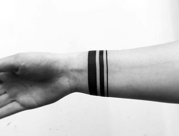 Three Black Bands Mens Wrist Tattoo Ideas