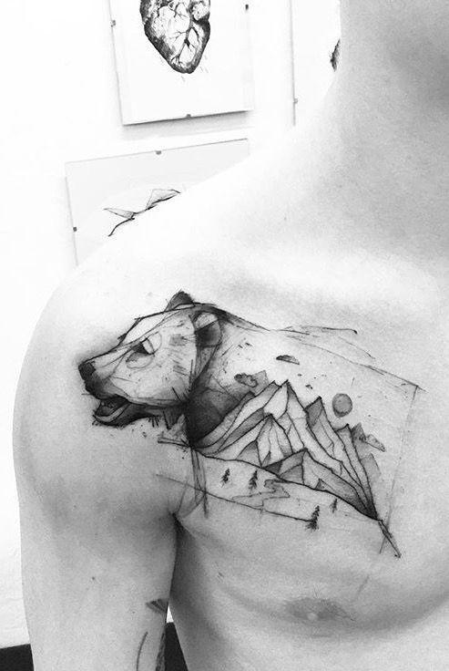 Kamil Mokot bear tattoo