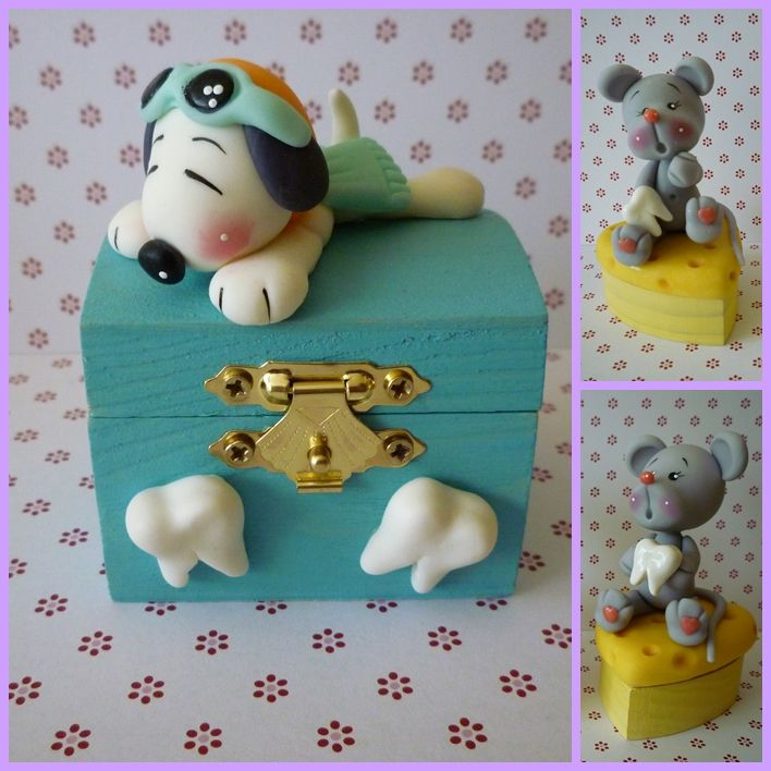 boxes teeth, snoopy and mouse all made out of  Fondant