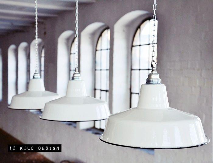 Hängelampen fabriklampe emaille lampe factory lamp b ware ein