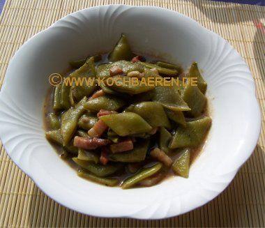 Bild : grüne Bohnen, Stangenbohnen mit süßsaurer Soße