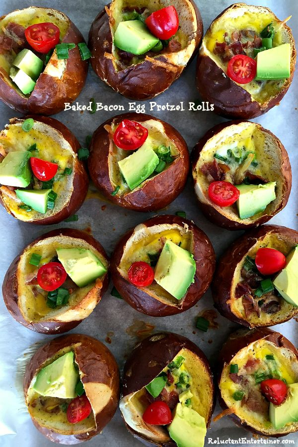These Baked Bacon Egg Pretzel Rolls are delicious served for brunch, lunch, or dinner! This recipe serves 12, so double up if you're hosting a large group!