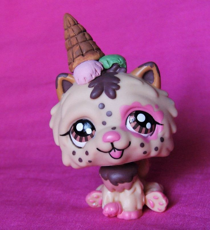 Littlest Pet Shop Ice cream Scoopy puppy Dessert OOAK custom LPS Sweet  #Hasbro