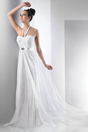 Chiffon halter gown Charmeuse waist with antique jewel brooch