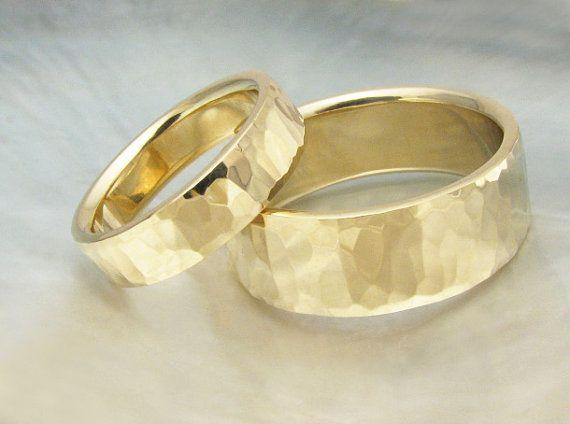 dele e dela martelado set ouro casamento banda - 8 milímetros de largura e anéis weddding correspondência 5 milímetros, cachoeira martelar