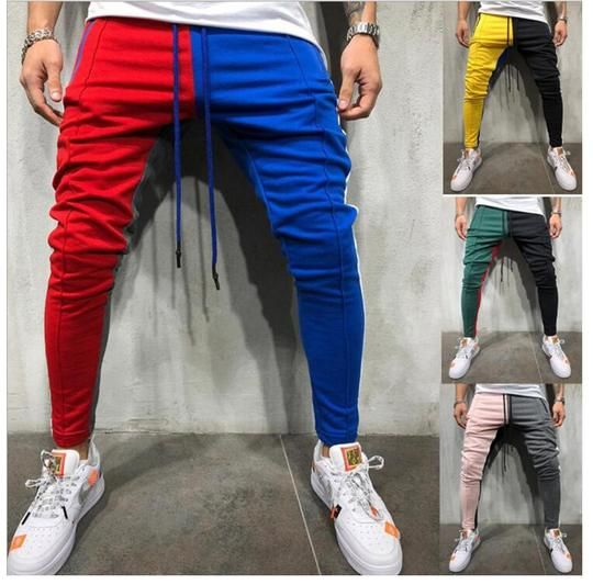 Striped Patchwork Harem Pants Mens Hip Hop Printed Color Block Casual Joggers Sweatpants Trousers Male Streetwear