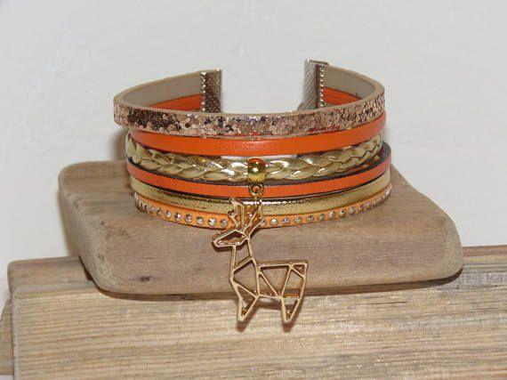 Bracelet Manchette orange doré cuir suédine paillettes