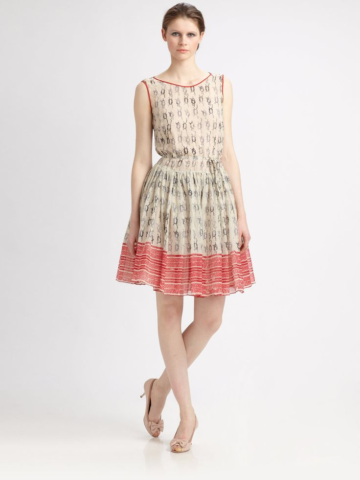 Red valentino Nautical print Dress in Pink