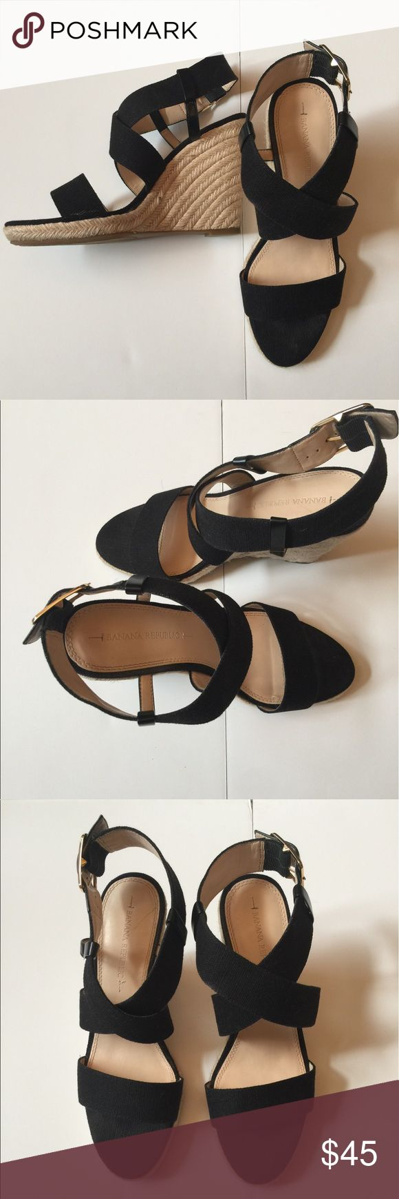 "Banana Republic Black Canvas Wedge Sandals Fabulous Black Canvas Wedge Sandals with Leather Trim from Banana Republic. Excellent Almost New Condition! Worn once. 4"" wedge Banana Republic Shoes Wedges"