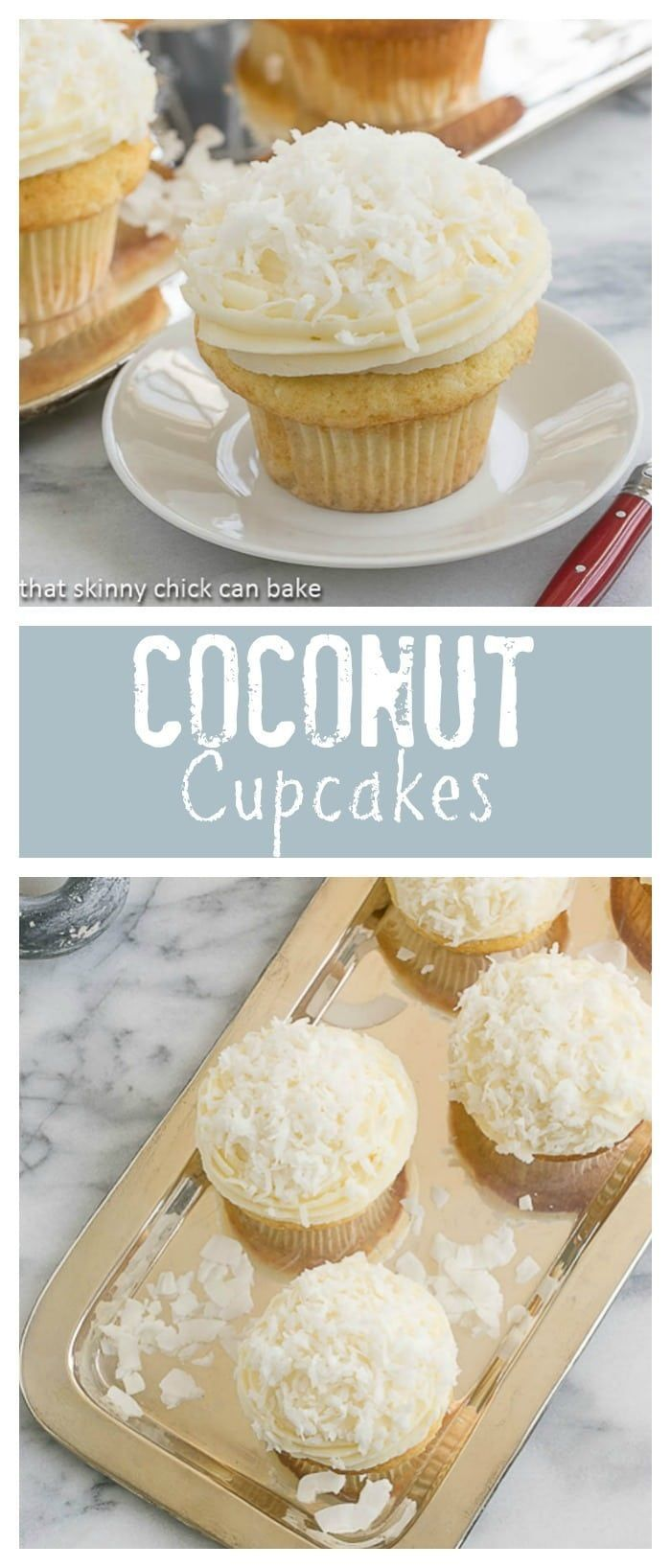 Coconut Cupcakes | Moist and tender coconut cupcakes topped with a delicious mound of cream cheese frosting @lizzydo