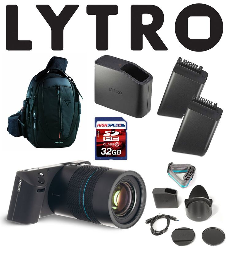 "Lytro Illum Light Field Digital Cameras Bundle w/ 32GB, Charger, Battery, Backpack. LYTRO ILLUM 40 Megaray Light Field Camera with Constant F/2.0, 8X Optical Zoom, and 4"" Touchscreen LCD (Black). Lytro B2-0022 Lithium Ion Battery Pack for Global MP SLR Camera - Body Only (Black). Lytro B6-0019 Wall Charger with AC Cord MP SLR Camera Only (Black). 32GB Class 10 SDHC Memory Card. VANGUARD UP-Rise Backpacks for Camera Gears (Black)."