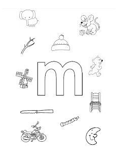 Welk plaatje/woord begint met de letter m?