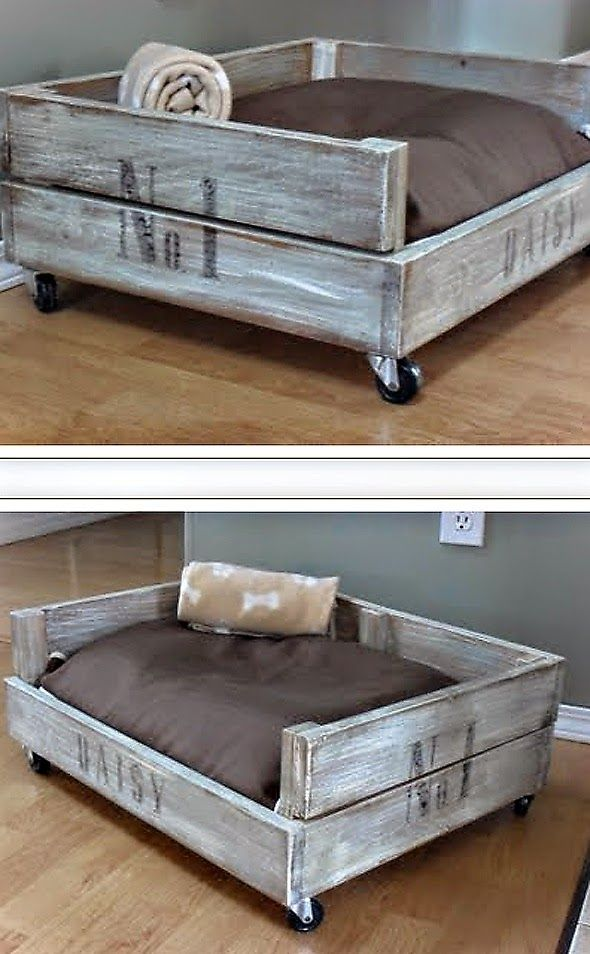 Idea:  Make a puppy bed out of an old wooden crate.  This would match the bedframe I picked out!